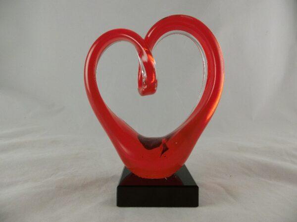Glas sculptuur Rood hart - Prana Puur | Cadeau winkel Roden