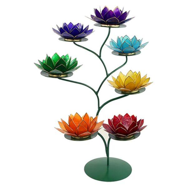 Chakra Boom groen + 7 Lotus sfeerlichten - Prana Puur | Cadeau winkel Roden