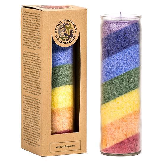 Kaars stearine regenboog geurloos - Prana Puur | Cadeau winkel Roden