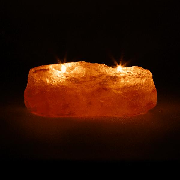 Zoutkristal Sfeerlicht Dubbel - Prana Puur | Cadeau winkel Roden